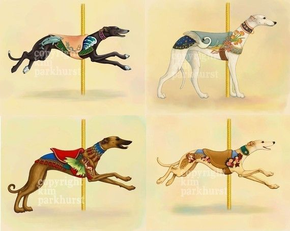 Karussell-Greyhound-Serie-Set mit 4 signierte Drucke von toadbriar