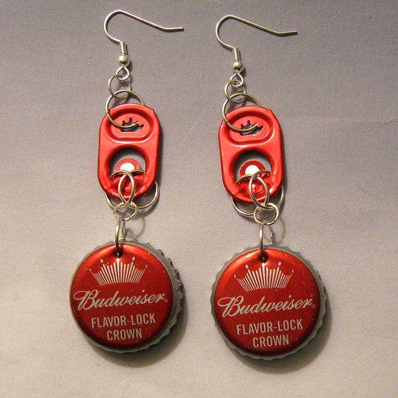 Recycled Can Tab Bottle Cap Earrings Budweiser Beer red crown