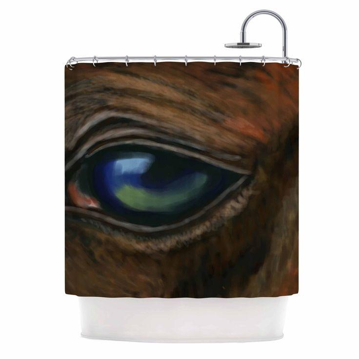 """Cyndi Steen """"Arabian Eye"""" Brown Animals Shower Curtain"""