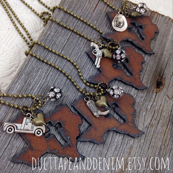 I Love TEXAS Necklace with Cross Cutout, antiqued silver cowboy hat, boot, pickup truck, or gun charm, rhinestones, and tiny heart charm by DuctTapeAndDenim, $23.00