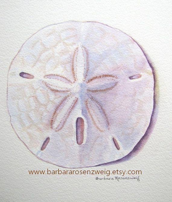 Shell Art, Sand Dollar Painting, Seashell Art Print, Sand Dollar Watercolor Art Print, Beach House Decor, Shell Art Gift, Barbara Rosenzweig