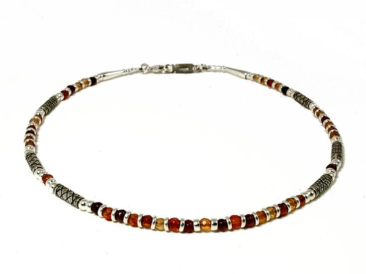 Junction Art Gallery - Anne Farag Carnelian Necklace, carnelian with etched silver £136.00 http://www.junctionartgallery.co.uk/artists/jewellery/anne-farag/carnelian-necklace