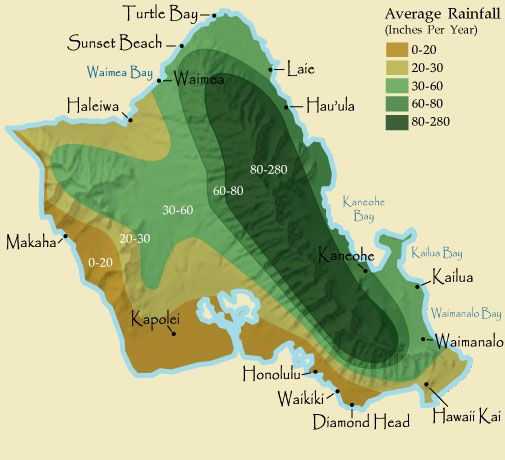 Oahu Rainfall Map - Yes we live in the part of the island with 0-20.