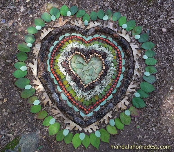 Mandala Art Medium: ~~mullein leaves, blackberry vine, willow leaf clumps, oak moss, mistletoe, wild rose hips, manzanita leaf, small pine cones, oak leaf, blackberry leaf on brown earth canvas