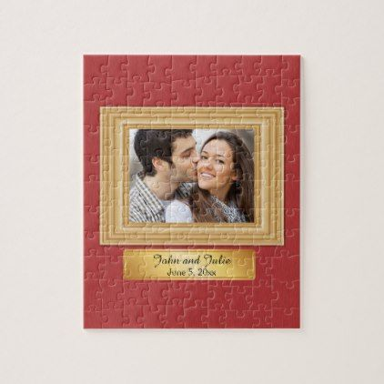 Red and Gold Romantic Couple Photo Puzzle - romantic wedding gifts wedding anniversary marriage party