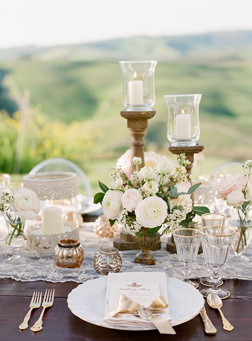 Romantic Destination Wedding in Tuscany, Romantic Place Settings | Brides.com