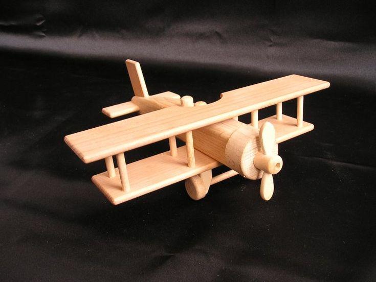Holzflugzeug Doppeldecker Spielzeug