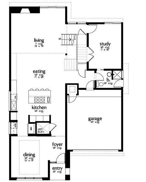 Plano de casa con oficina y 3 dormitorios planos y for Planos de oficinas modernas