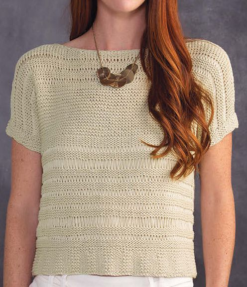 Knitting Pattern for Delightful in Drop Stitch Tee - Short-sleeved top with drop stitch openwork. To fit size: S (M, L) Designed by Sandi Prosser. More info and pattern at Annie's http://www.anrdoezrs.net/links/7729443/type/dlg/sid/12573089/https://www.anniescatalog.com/detail.html?prod_id=136097&cat_id=469 tba drop stitch