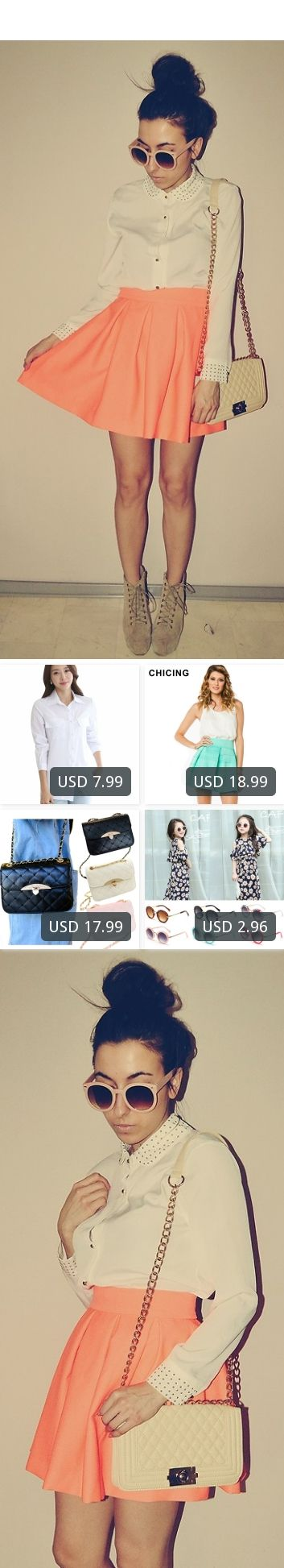 This is Pam S's buyer show in OurMall;  1.Women Long White Blouse Korean Style Female Solid Elegant Blusas Ladies Office Long Sleeve Blouses 2.Colors Spring Summer 2016 Mint Neon Green Orange High Elastic Striped Casual Mini Skater Skirts 3.Women's PU Leather Shoulder ... please click the picture for detail. http://ourmall.com/?3YBJva #skirt #circleskirt #midiskirt #pleatedskirt #laceskirt #pencilskirt #Maxiskirt #skirtskater #kneelengthskirt #bohoskirt