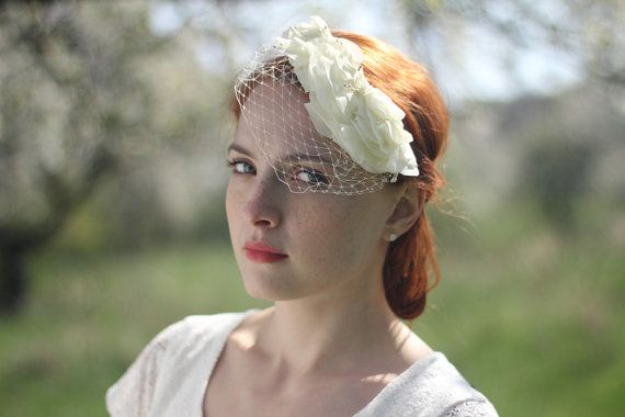 Birdcage veil with flowers - this romantic birdcage veil is adorned with dozens of chiffon flower petals. I create them piece by piece using