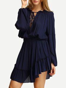 Vestido escote pico volantes -azul-Spanish SheIn(Sheinside)