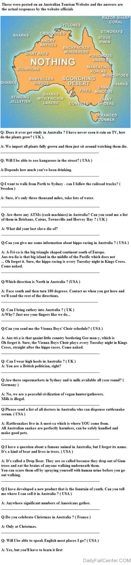 People in Australia are funny. Alleged answers to queries by potential tourists.