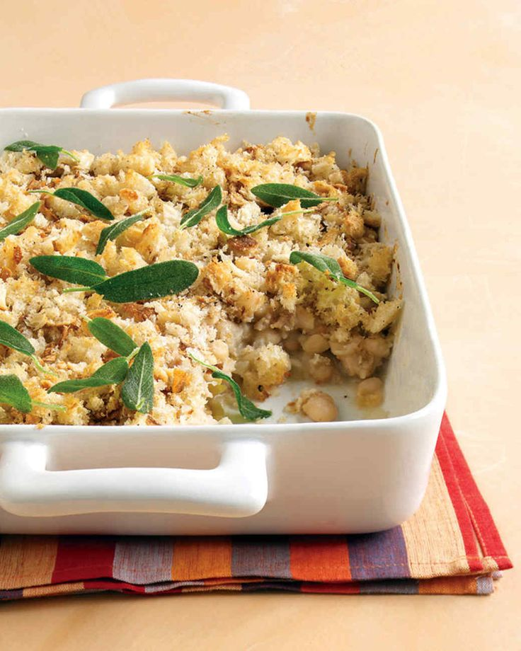 Chicken-Sausage and Bean Casserole with Sage | Martha Stewart Living - In this recipe from reader Robert Estep of East Haddam, Connecticut, sage-infused olive oil complements the beans and sausage, and the fried leaves make the crunchy breadcrumb topping even crunchier.