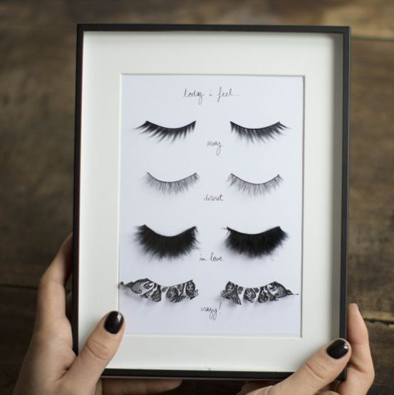 "DIY Fake Eyelashes Wall Art Tutorial from Make My Lemonade. Her piece is labeled, ""Today I feel"" and then descriptions for each pair of eyel..."