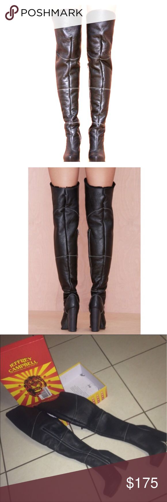 Jeffrey Campbell thigh high leather boots Jeffrey Campbell thigh high leather w/ cream stitching boots Jeffrey Campbell Shoes Over the Knee Boots