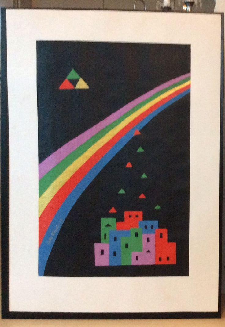"""Fra serien """"Et øjebliks klarsyn"""" III, fra 1988/89 Akryl på glasvæv. Med passepartout 70 x 100 cm"""