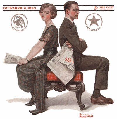 Woman and Man Seated Back to Back by Norman Rockwell (1920)
