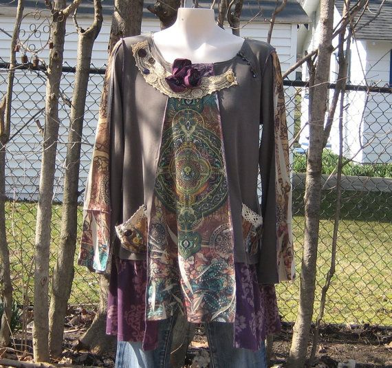 Upcycled Tunic, Romantic Clothing, Upcycled Clothing, Earth Colors, Size L-XL