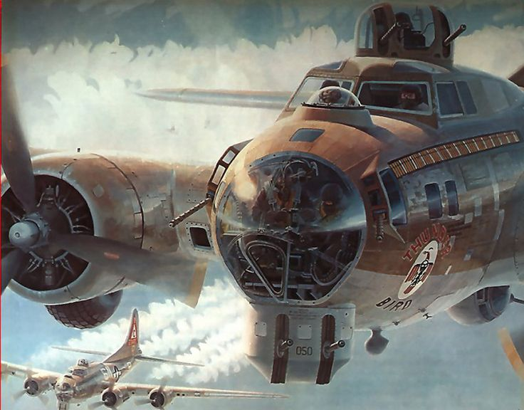 "Part of the mural ""Fortress Under Fire"" at the Smithsonian Air and Space museum. Depicts the B-17 ""Thunderbird"" on her 70th (!) mission, en route to Weisbaden, Germany on 15 August 1944."