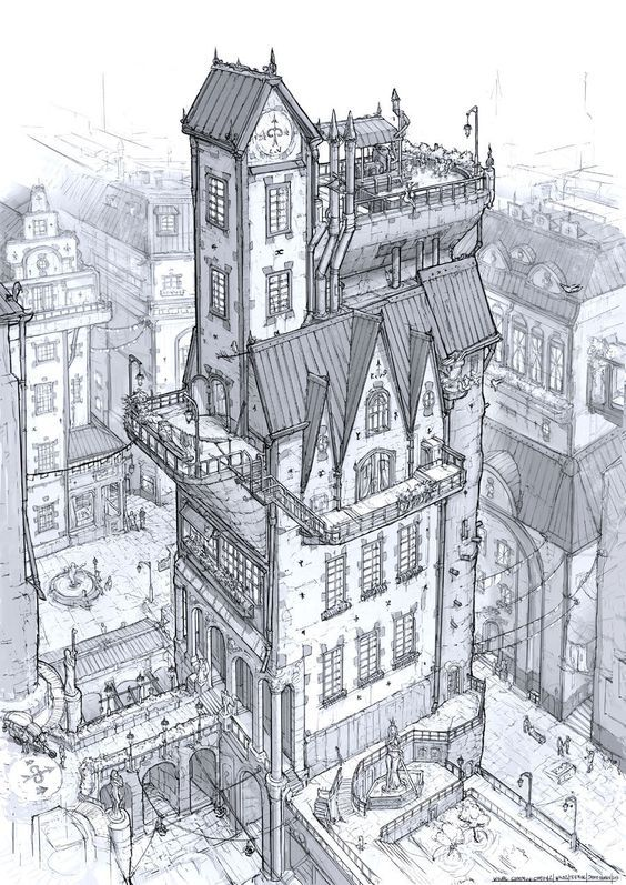 old building sketch, line drawing, black and white, stone and brick building
