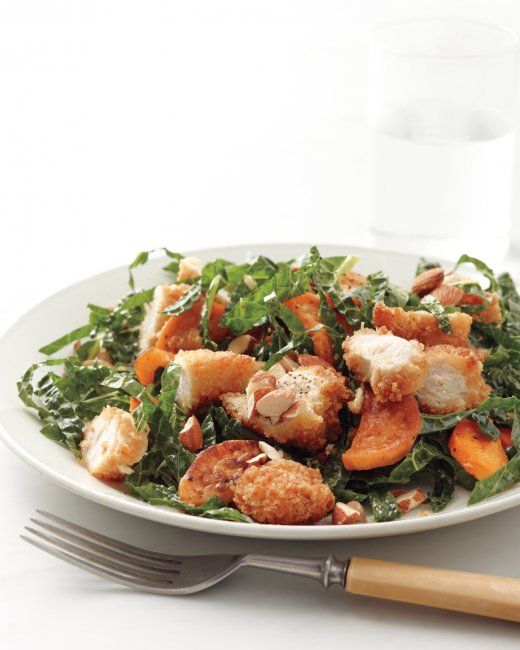 Kale Salad with Chicken and Sweet potato. I added argula, baby spinach ...