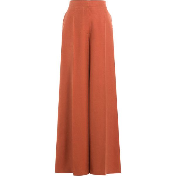 Valentino Silk Wide Leg Pants ($2,019) ❤ liked on Polyvore featuring pants, bottoms, trousers, pantalones, valentino, grey, grey trousers, high waisted silk pants, fancy pants and high-waisted wide leg pants