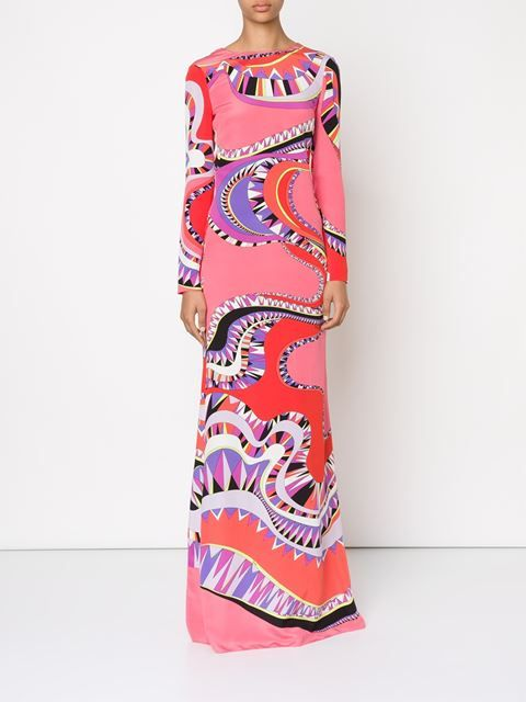 lace-up back geometric print gown