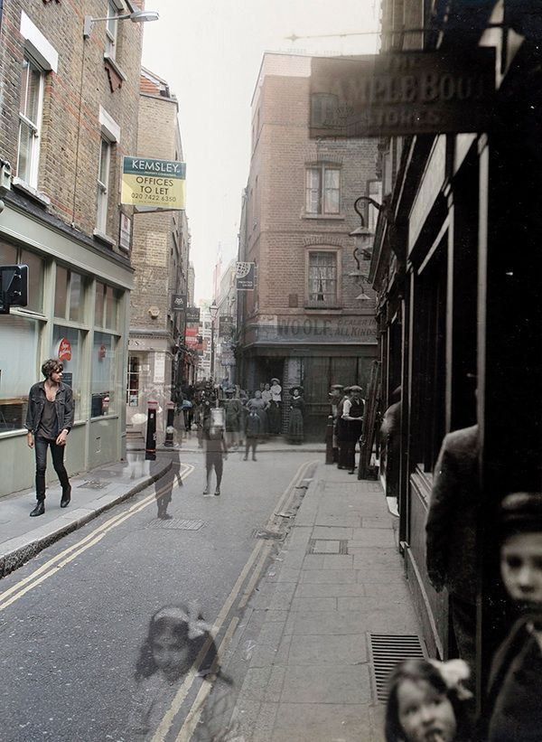 Magical image merging two photos from the same Spitalfields streets in London from two eras.