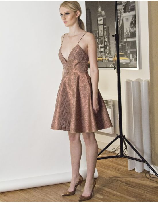 Vionette Bronze Low Neck and Low Neck Dress by Joana Almagro