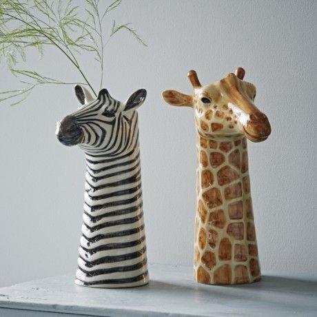 zebra and giraffe vases (trouva)