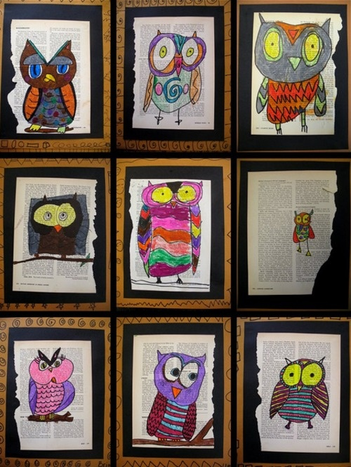 Hand-drawn owls on pages of books. Credit - ?