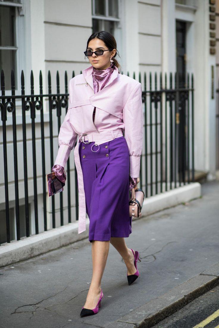 That purple is killer! #londonfashion Street Style London Fashion Week 2018