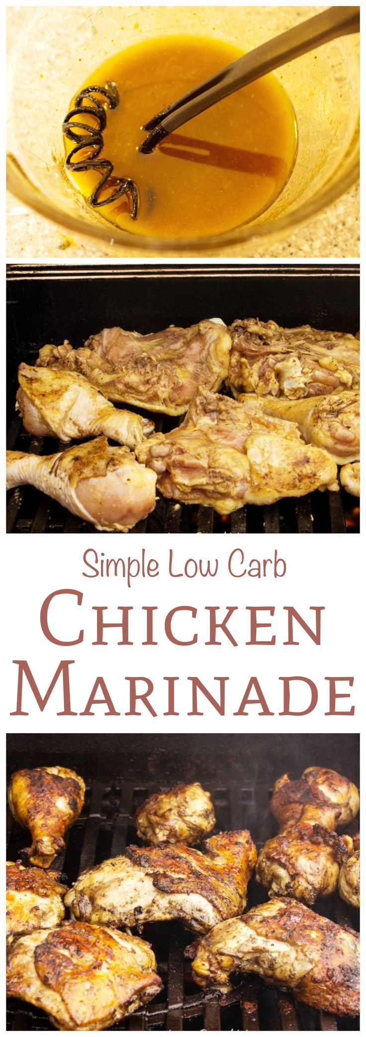 This low carb chicken marinade for grilling is quick and easy to make. Just whisk ingredients together then let chicken sit in marinade for an hour or more.