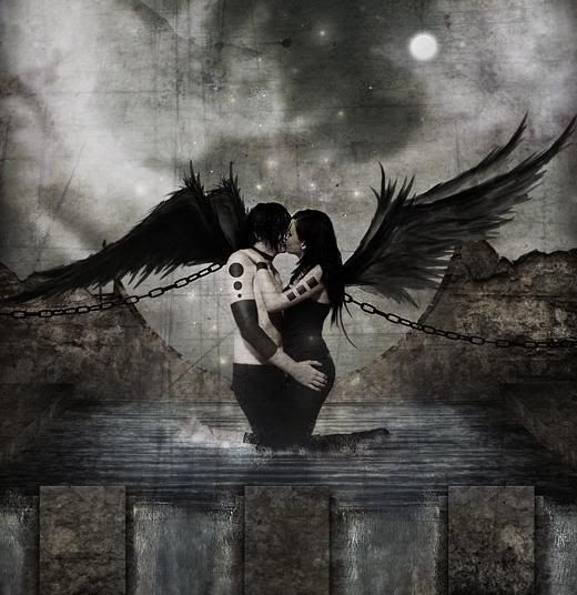 Dark Goth Angel Love...I love this piece.