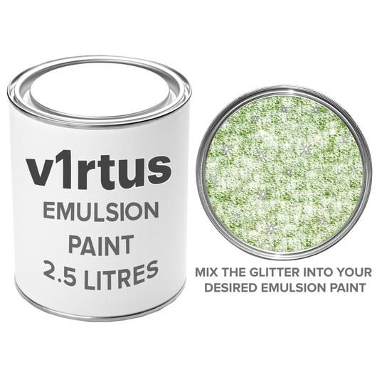 v1rtus Lime Green Glitter Paint Crystals Additive 100g / 3.5oz Emulsion Paint Walls Ceilings