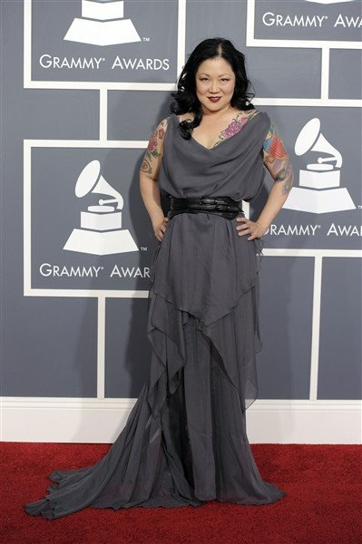 That dress is fabulous - plus Margaret Cho looks amazing in it. (Margaret Cho at the Grammy's by Margaret Cho, via Flickr)