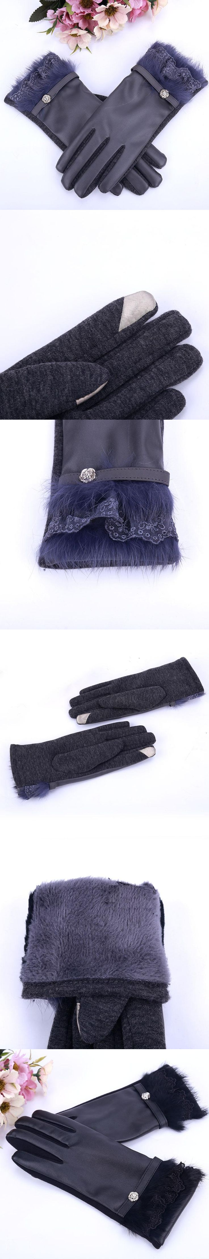 Real Rabbit Fur Glove PU Leather for Women Anti-slip Warm Winter Gloves Lady Mittens Genuine Fur Female PU Leather Gloves Thick