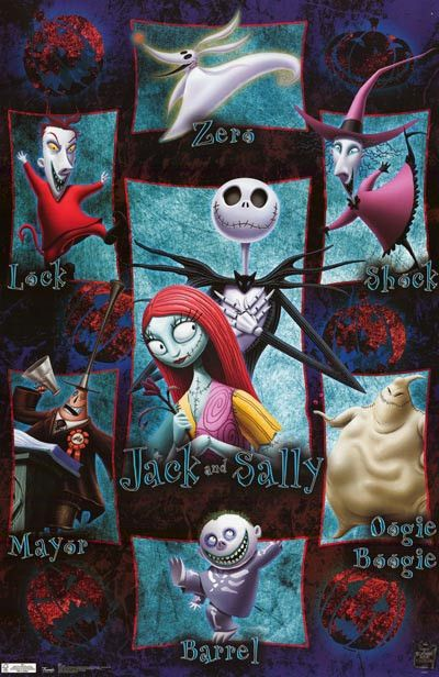 Nightmare Before Christmas Cast Art Movie Poster 22x34