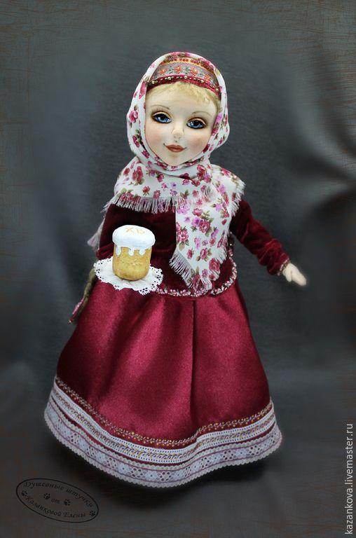 Купить Дарья - бордовый, Пасха, Кулич, русская девушка, коса, платок, бязь, холлофайбер, вискоза