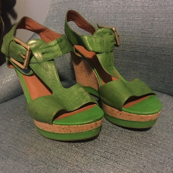 Franco Sarto T Strap Wedges Green wedges with buckle around ankle & t strap Franco Sarto Shoes Wedges