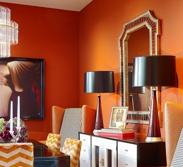 Orange dining room walls paint it orange pinterest for Orange dining room