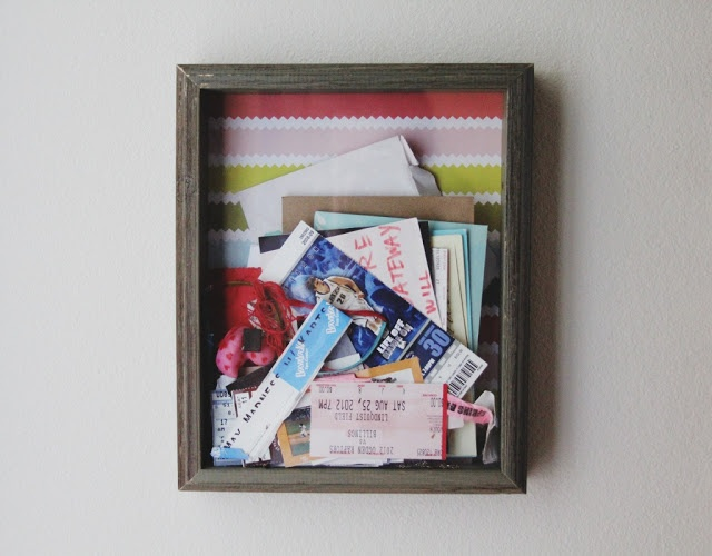 Shadow box to hold all your favorite memories in! Ticket stubs, movie tickets, concert bands... fun way to display it!