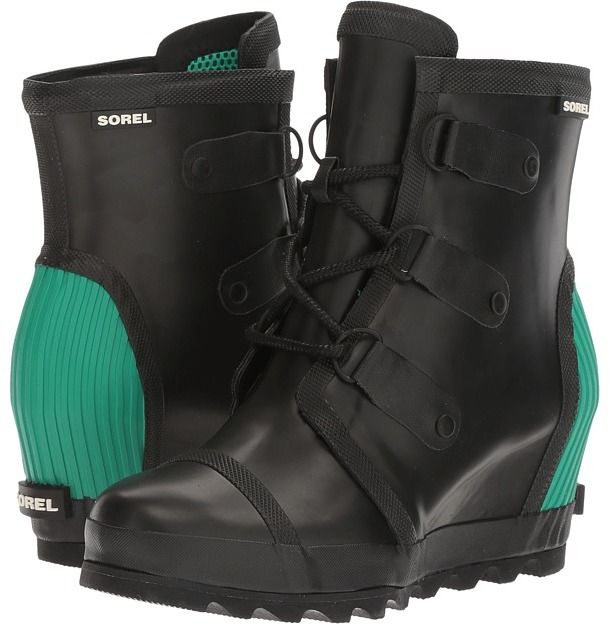 SOREL - Joan Rain Wedge Women's Rain Boots #rainboots #fashion #green
