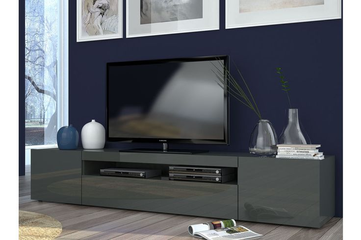 vente sejour contemporain 21609 meubles tv meuble tv 2 portes daiquiri anthracite laqu. Black Bedroom Furniture Sets. Home Design Ideas