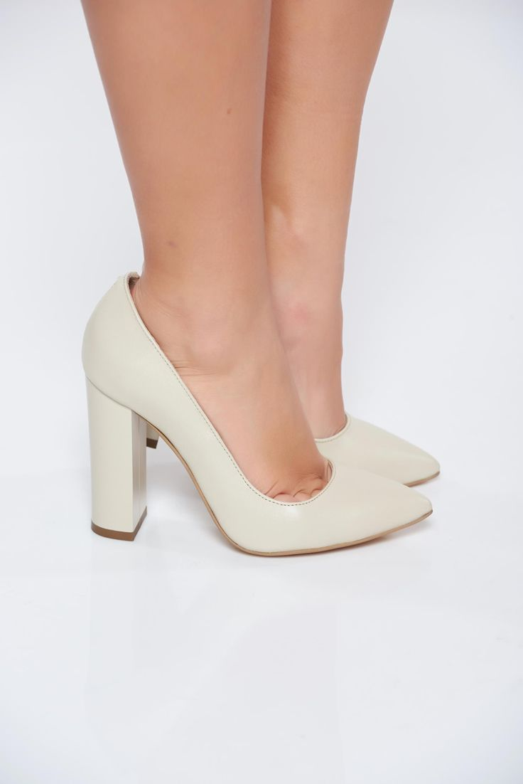 Nude shoes elegant natural leather chunky heel slightly pointed toe tip, chunky heel, high heels, slightly pointed toe tip