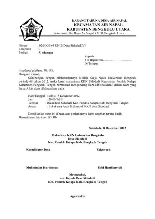 15 Contoh Surat Undangan Resmi, Tidak Resmi, Rapat ... di ...