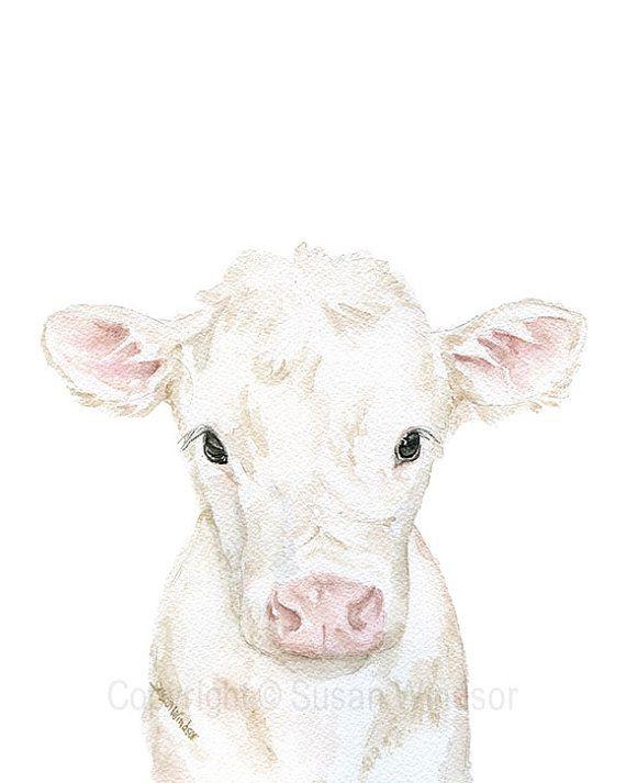 Baby Kuh Kalb Aquarell – 5 x 7 – Bauernhaus Bauernhof Tier – Kinderzimmer-Wand-Kunst-Dekor