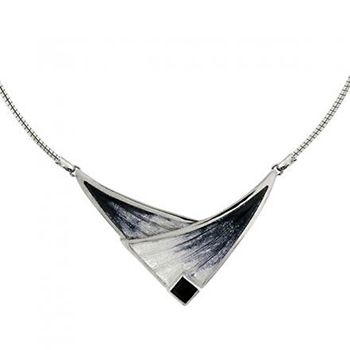 Nicole Barr Silver and Onyx Meadowgrasses Necklet