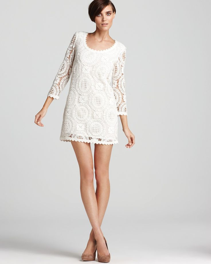 French Connection Lark Rise Lace Dress in Classic Cream
